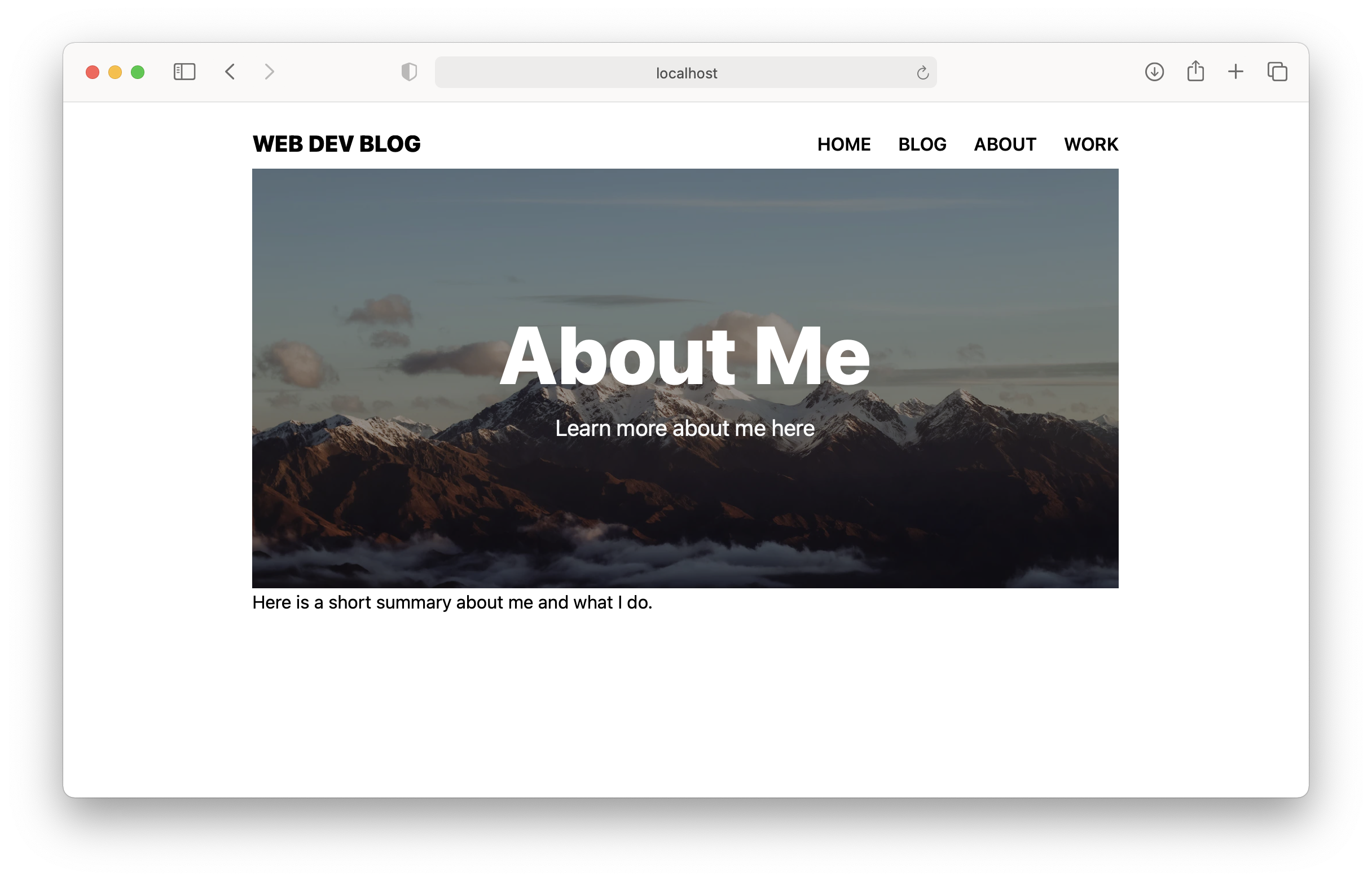 About Page Screenshot