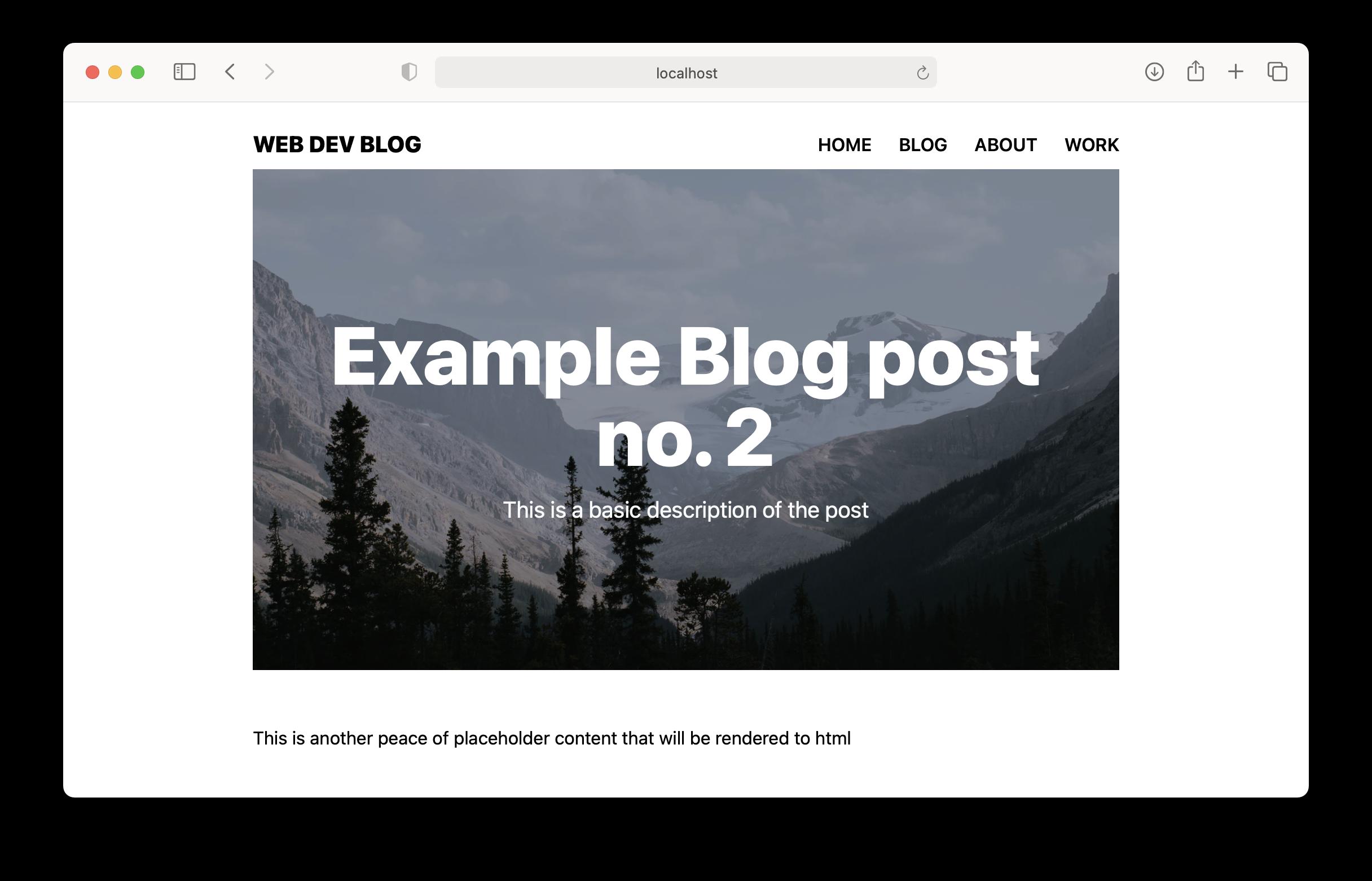 Blog page Screenshot
